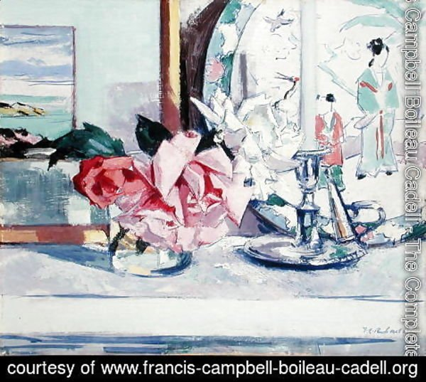 Francis Campbell Boileau Cadell - A Still Life - Roses (lona)