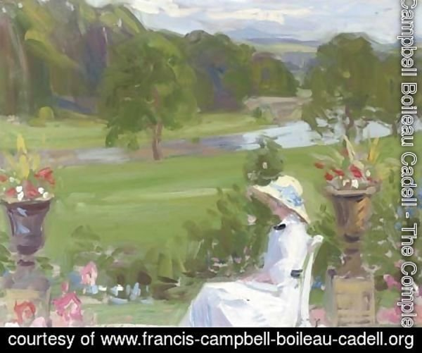 Francis Campbell Boileau Cadell - Jean Cadell at Dalserf, seated in a white dress