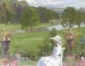 Jean Cadell at Dalserf, seated in a white dress