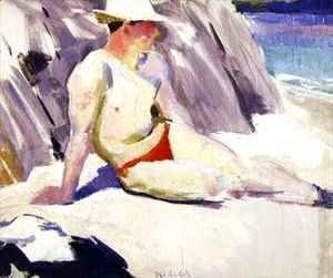 Francis Campbell Boileau Cadell - Sunbather on the Beach Iona