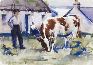 Francis Campbell Boileau Cadell - The Brown And White Cow, Iona