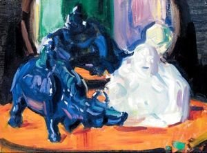 Francis Campbell Boileau Cadell - Still Life With A White Buddha And A Porcelain Buffalo