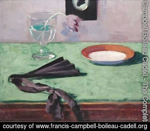 Francis Campbell Boileau Cadell - Still Life With A Tulip And A Black Fan
