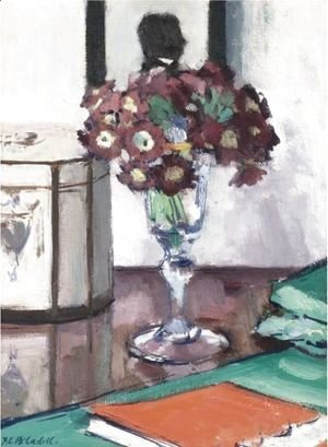 Francis Campbell Boileau Cadell - Still Life With Primulas And A Book