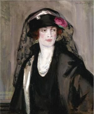 Francis Campbell Boileau Cadell - Lady Lavery In Black